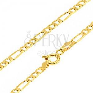 Arany nyaklánc - három egyforma ovális és egy hosszúkás szem, 500 mm