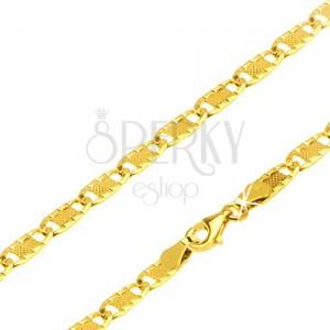 Nyaklánc 14K sárga aranyból, részek dísz bemetszésekkel és ráccsal, 500 mm