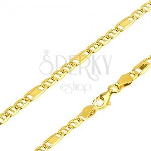 Nyaklánc 14K sárga aranyból - részek pálcikával és egy rész téglalappal, 450 mm