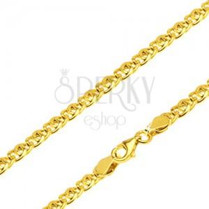 Nyaklánc 14K sárga aranyból - két ovális egymással keresztezett szem, 450 mm