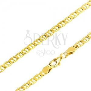 14K sárga arany nyaklánc - elipszis alakú szemek pálcikával elválasztva, 555 mm