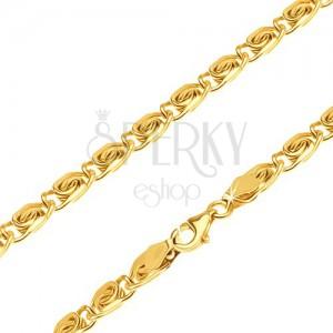 """Arany nyaklánc - csillogó részek, """"S"""" mintával, lekrekített, 500 mm"""