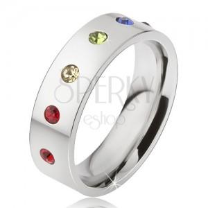 Fényes acél gyűrű, hat színes kerek kő