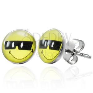 Acél fülbevaló - napszemüveges smiley