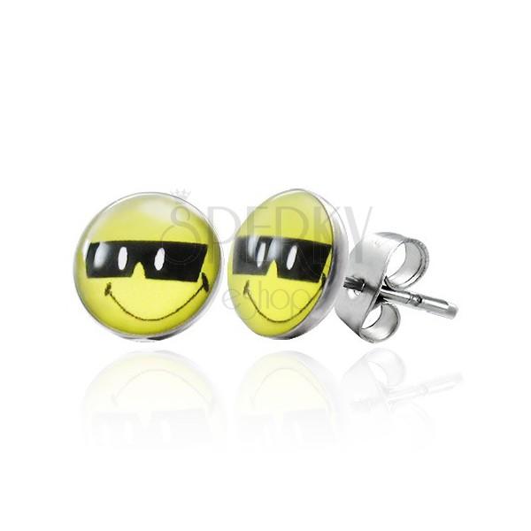 Acél fülbevaló, napszemüveges smiley, stekkerek