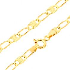 Karkötő 14K sárga aranyból - hosszabb szemek, elemek sugaras vésetekkel, 205 mm