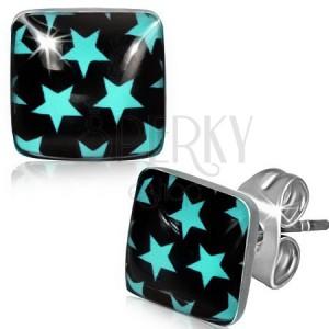 Acél fülbevaló fekete négyzet kék csillagokkal