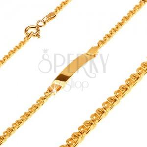 Arany karkötő lemezzel - két szélesebb, ovális, egymással összekapcsolt szem
