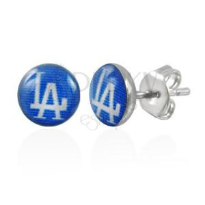 Fülbevaló acélból, kék körök LA felirattal