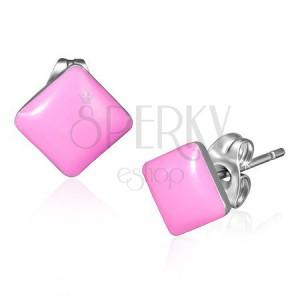 Beszúrós acél fülbevaló - fényes rózsaszín négyzet