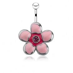 Köldökpiercing sebészeti acélból, rózsaszín fénymázas virág