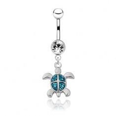 Köldök piercing acélból - fényes ezüst színű teknősbéka, kék páncél