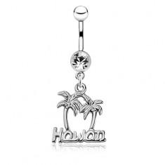 Fényes acél piercing köldökbe - két pálma és Hawaii felirat