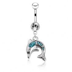 Fényes acél köldök piercing - ugró delfin, kék fénymáz, cirkónia
