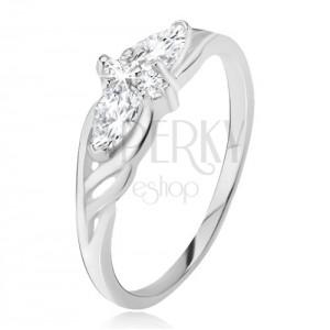 Gyűrű 925 ezüstből - könnycsepp és kerek kövek, kivágások a szárakon