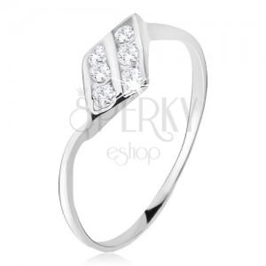 Gyűrű 925 ezüstből, rombusz, két cirkóniás vonal