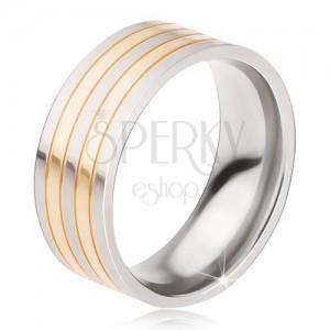 Titán gyűrű - fényes ezüst-arany színű gyűrű, váltakozó sávok