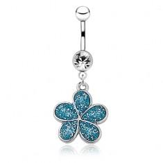 Acél köldök piercing- ötszirmú virág, kék fénymáz csillámokkal