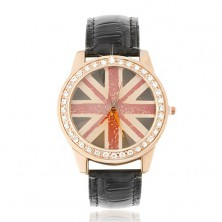 Karóra acélból - rózsaszínarany, britt zászló, fekete szíj