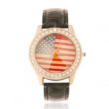 Analóg óra, rózsaszínarany, fekete szíj, amerikai zászló, cirkóniák