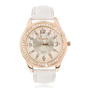 Acél óra rózsaszínarany színben - bézs óra, cirkóniák, fehér szíj