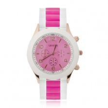Analóg óra, rózsaszínarany, az óra lapja élénkrózsaszín, szilikon szíj