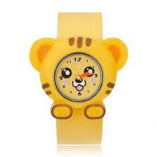 Karóra sárga színben - tigris hasonmás, görgethető szíj