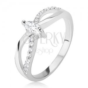Gyűrű 925 ezüstből - végtelen motívum, cirkóniás sáv, ellipszis kő