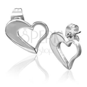Fülbevaló sebészeti acélból - egyenetlen szív körvonal ezüst színben