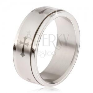 Fényes acél gyűrű - matt forgatható karika, szürke lenyomat liliom keresztel