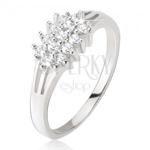 Gyűrű - háromfelé ágazó szárak, kerek, átlátszó kövek, 925 ezüstből