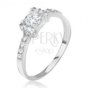 Ezüst gyűrű - kirakott masni, csillogó átlátszó cirkóniák