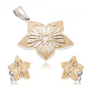 Kétszínű acél szett - fülbevaló és medál, kivágott szemcség virág