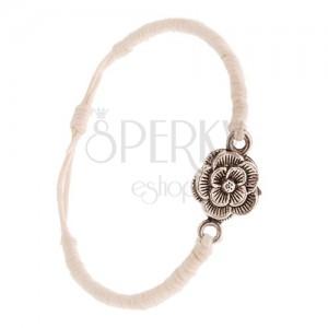 Karkötő zsinórokból - bézs, sűrűn fonott, patináns virág