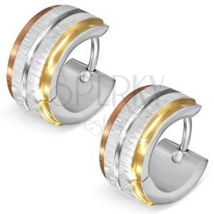 Háromszínű acél fülbevaló - ezüst színű szatén sávok, fényes bemetszés