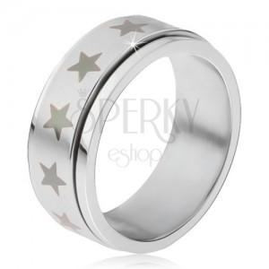 Acél gyűrű - forgatható matt karika, szürke csillag lenyomat