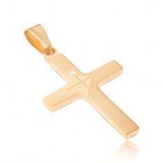 Medál sebészeti acélból arany színben, matt klasszikus kereszt, fényes nyíl