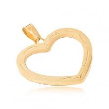 Medál sebészeti acélból arany színben, gravírozott szívkörvonal