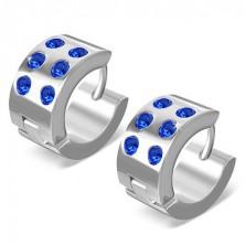 Kerek fülbevaló sebészeti acélból - fényes ezüst, kék cirkóniák
