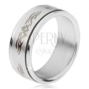 Acél gyűrű, matt csavarható karika mintával