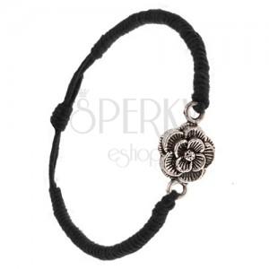 Karkötő fekete zsinórokból, sűrűn fonott, patináns virág