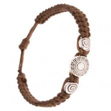 Karkötő fonott gesztenyebarna zsinórokból, görög kulcs, spiráll