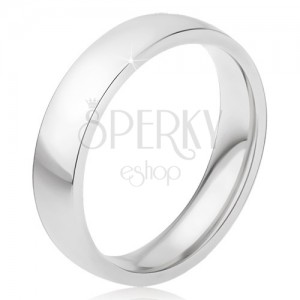 Fényes acél gyűrű ezüst színben, sima felület, 5 mm