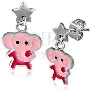 Acél fülbevaló, rózsaszín elefánt és csillag