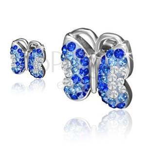 Acél fülbevaló, pillangó kék és átlátszó kövekkel
