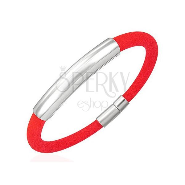 Gömbölyű szilikon karkötő, sima lap, piros