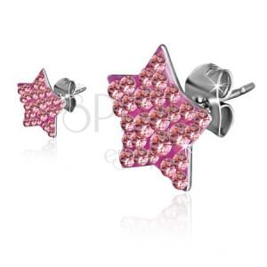 Acél fülbevaló - rózsaszín cirkóniás csillag