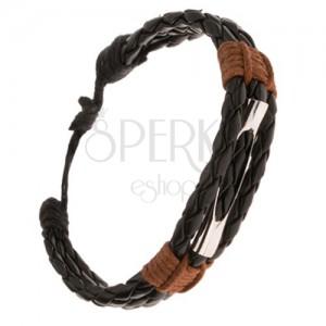 Karkötő - három fonott fekete sáv, kivágott henger, barna zsinór