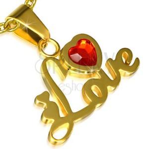 Acél medál arany színben, Love felirat, szív, piros kő