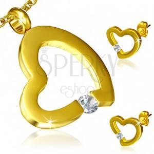 Arany szett acélból - fülbevaló és medál, szabálytalan szívkörvonal, cirkónia